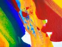 pictură abstractă albastră și verde portocalie