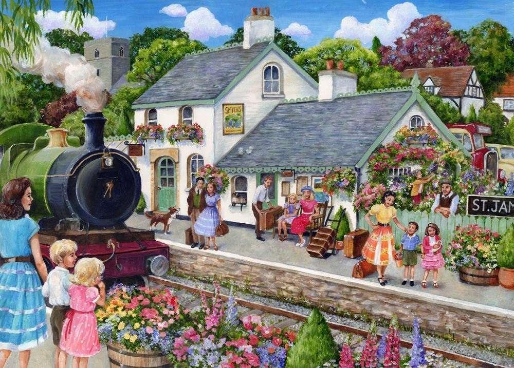 Op het treinstation - Landschap puzzel (12×9)
