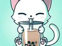 Cute kawaii cat with milkshake