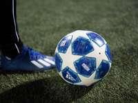 Balón de fútbol azul y blanco en el campo de hierba verde