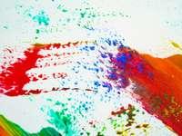pintura abstrata azul branca e marrom