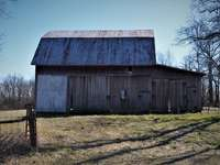 кафява дървена къща в плевня близо до голи дървета през деня