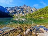 Татри, планини, трева, Morskie Oko, синьо небе