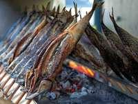 ryba z grilla na grillu węglowym