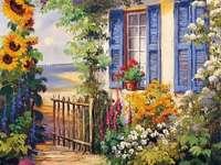 Pintura de casa à beira-mar com jardim