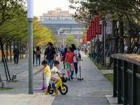 Människor som går på trottoaren under dagtid