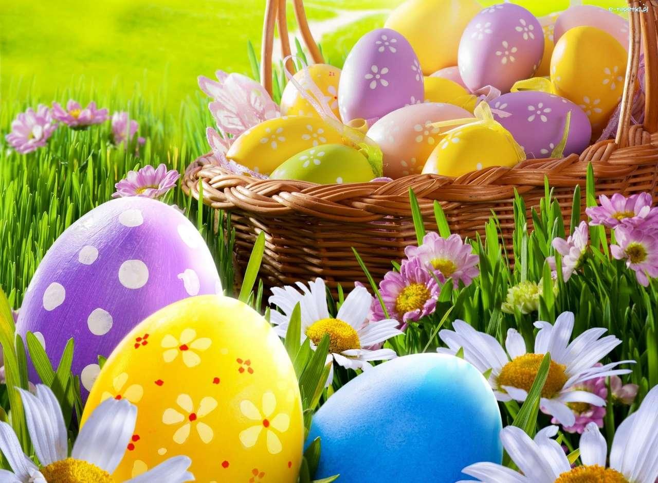 Barevné velikonoční vajíčka online puzzle