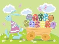 Drawing bunny with Easter eggs