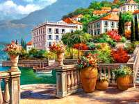 Terrasse, Häuser, Meer