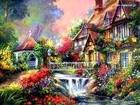 Thuis, tuinhuisje, brug met rivier en bloeiende planten