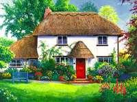 Strohgedecktes Haus