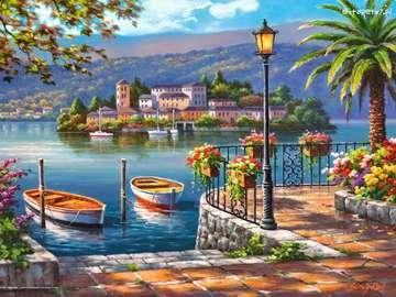 Θέα από τη βεράντα του νησιού με σπίτια
