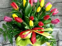 A bouquet of colorful tulips