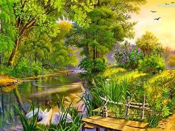 Brücke am Fluss im Frühjahr