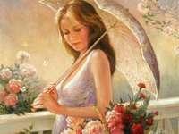 Красива млада жена с чадъра