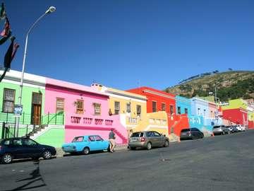 Färgglada hus. Kapstaden.