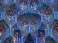blau grüne und gelbe abstrakte Malerei