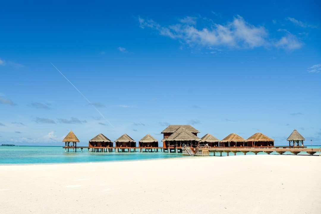 Hnědé dřevěné plážové slunečníky na pláži během dne