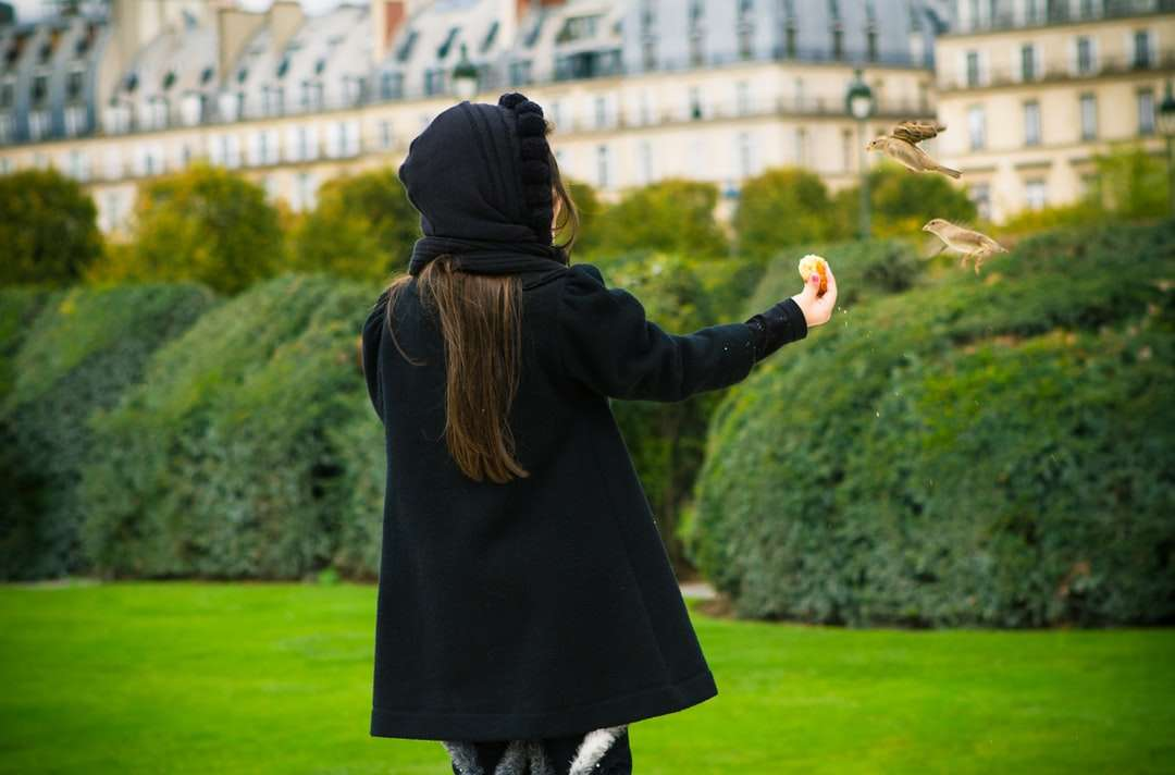 Kobieta w czarnym żakiecie stoi na zielonej trawy polu