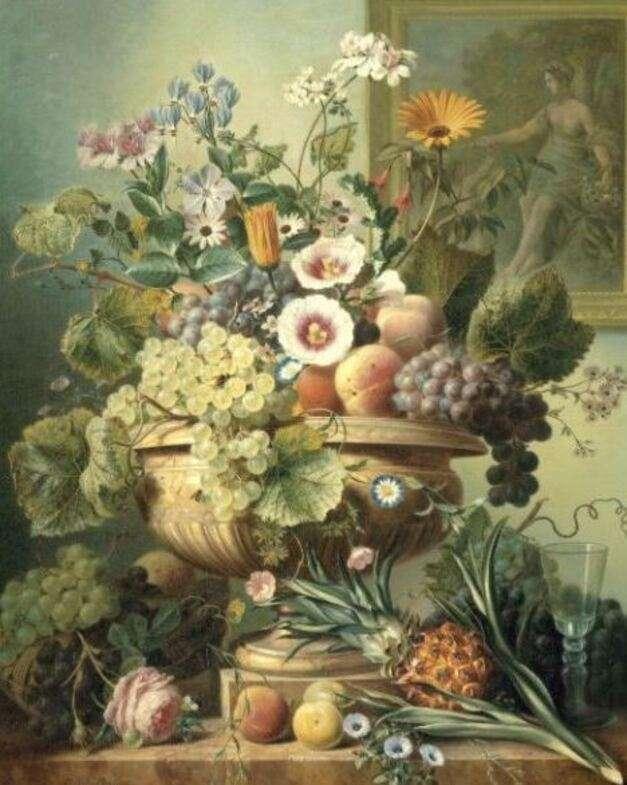 Zátiší ovoce a květiny