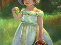 Bambina nel cestino dei fiori