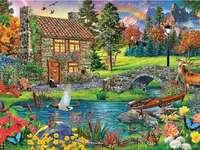 Chatovat v horách. puzzle