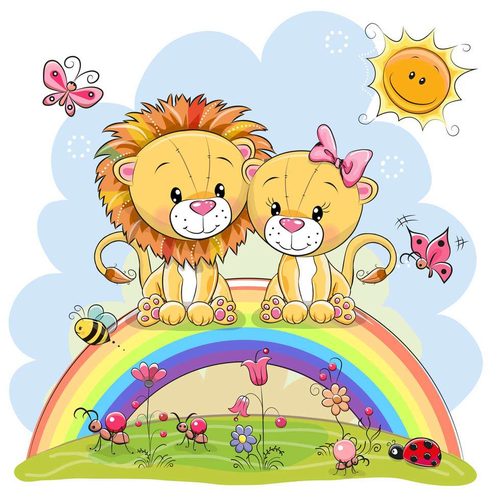 Lwy kreskówek puzzle