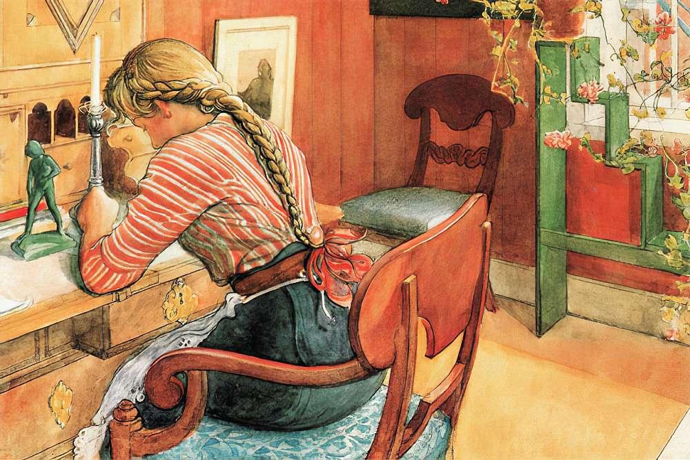 Flicka vid skrivbordet pussel