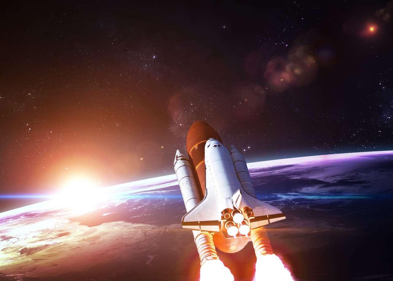 Shuttle espacial decolando em uma missão