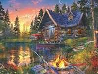 Ein Haus im Wald am See