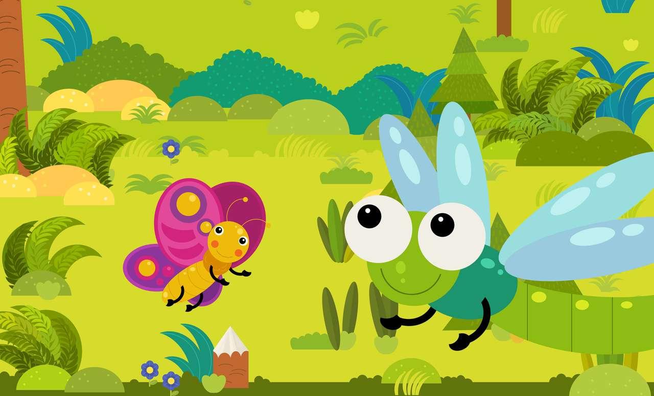 Scena kreskówek z owadami