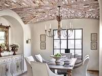 Dining room with brick ceiling