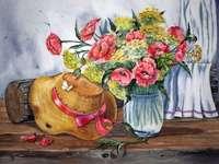 Bodegón (sombrero y flores)