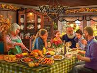 Family eating jigsaw puzzle