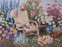 Immagine ricamata - fiori in giardino