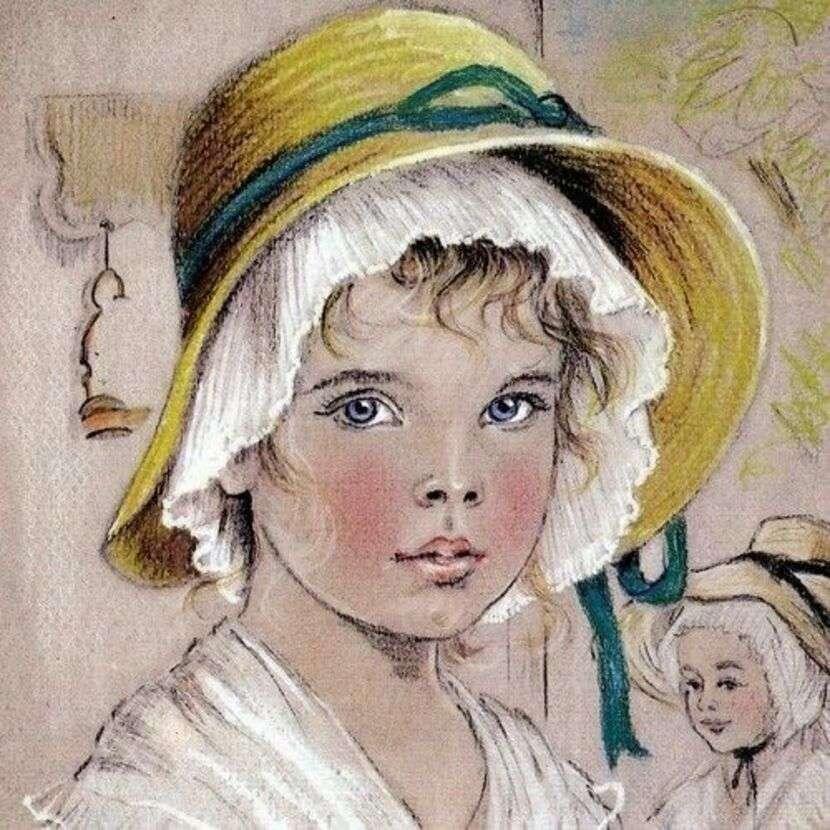 Jeune paysanne avec une jolie coiffe d'époque.