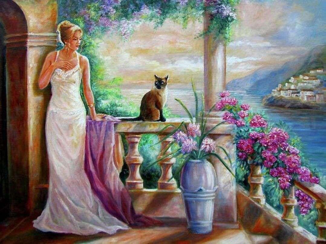 Ung kvinna på terrassen en sommarkväll
