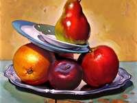 Birne, Apfel, Orange ... (Stillleben)