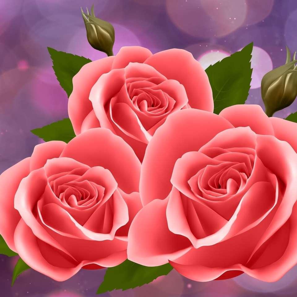 Tres rosas de coral