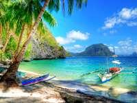 Piękna tropikalna plaża scena puzzle