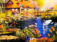 A fabulous house at the lake jigsaw puzzle