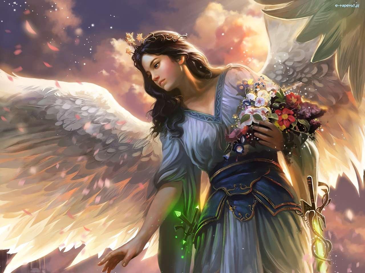 Grafica - un angelo donna con fiori