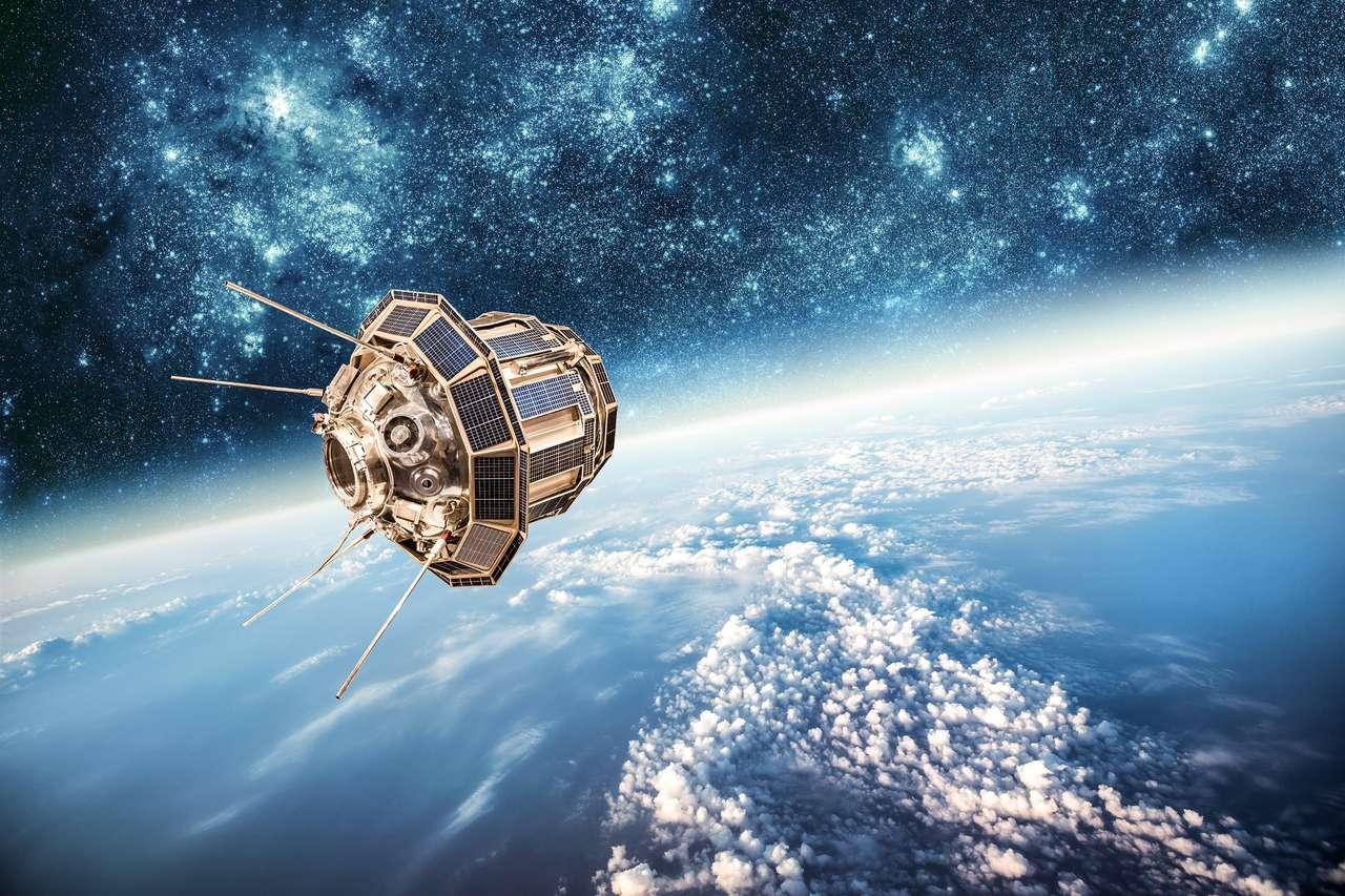 Espaço satélite orbitando a terra. Elementos desta imagem fornecida pela NASA.