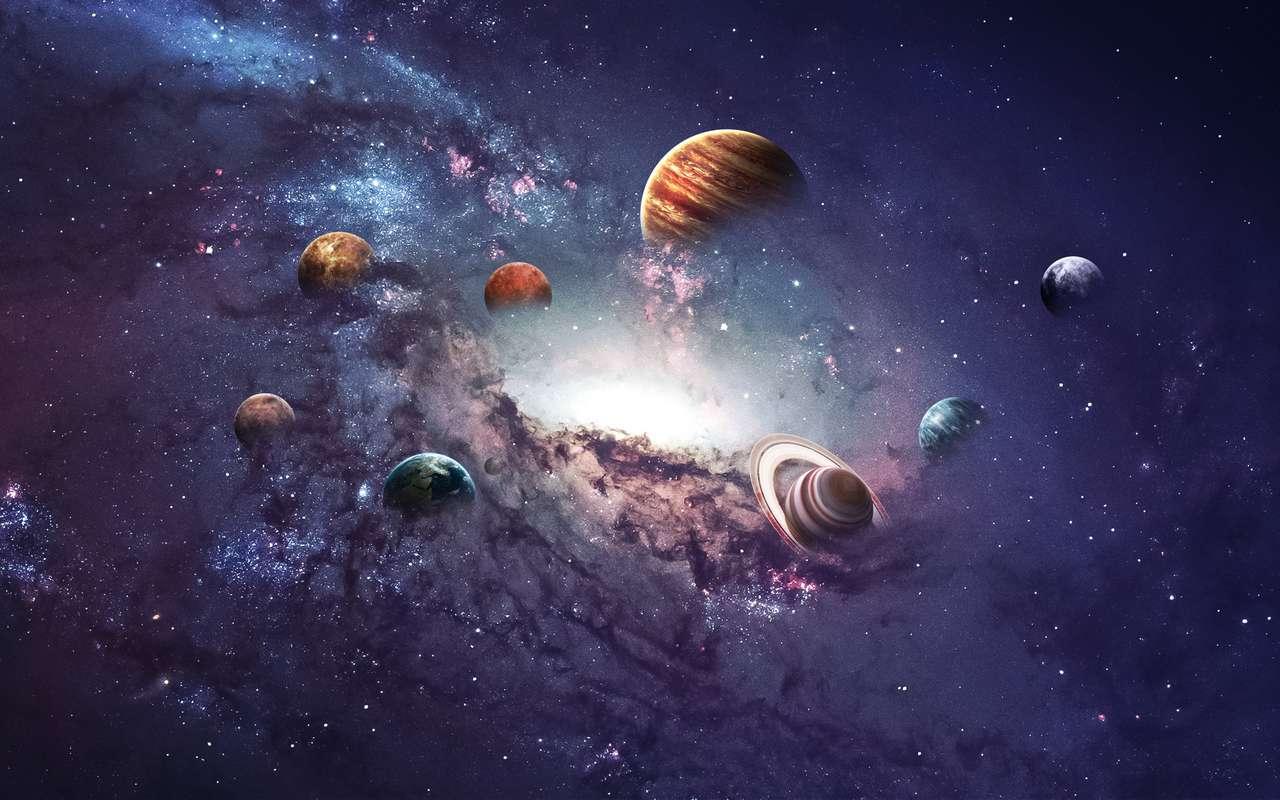 Planetas do sistema solar. quebra-cabeça