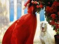 Kouzlo červených, květin a věnované mladé ženy