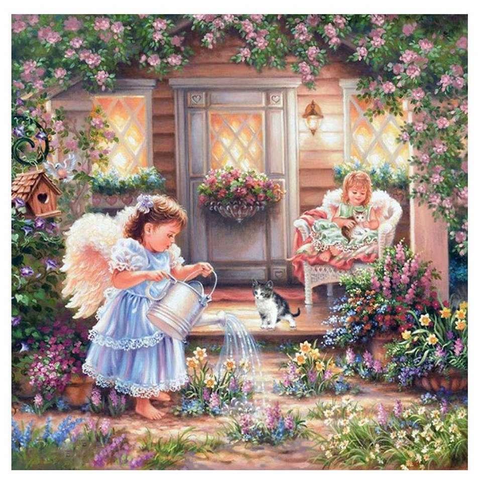 Chicas sobre el jardín