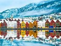 Blick auf Brügge. Bergen Norwegen