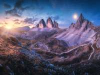 Twilight in Tre Cime in Dolomites, Italy