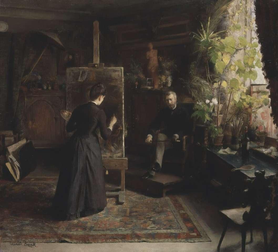 Kobieta w czarnej sukni stojącej na brown drewnianym domu puzzle