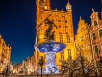 Fountain of the Neptune in the old town of Gdansk, Poland